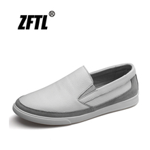 ZFTL New Men's Loafers Man Casual Slip-on Shoes genuine Leather Sports Leisure shoes White shoes Spring brand high-end male  028 17 new models of high end goods leather shoes leisure shoes fashion shoes