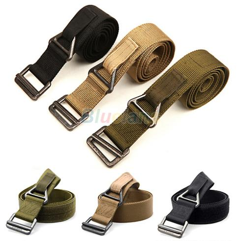 New Unisex Rescue Tactical Rappelling Downhill Canvas Military   Belt   Waist 3 Colors 96YY