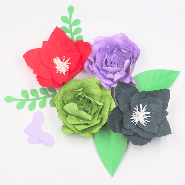 2018 4pcs large crepe paper flowers backdrop 4pcs leaves 1 piece 2018 4pcs large crepe paper flowers backdrop 4pcs leaves 1 piece butterfly for wedding mightylinksfo