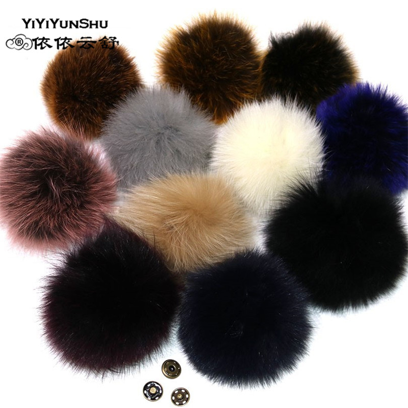 YIYIYUNSHU 14-16cm Whole skin Real Fox Fur Pompom fur Ball for Hats Caps Big Natural Genuine Fur Pompon Ball For Hats Bags alphbet pompom fashion for car 12cm fluffy real fox fur pompon key ring keychain for bag accessory