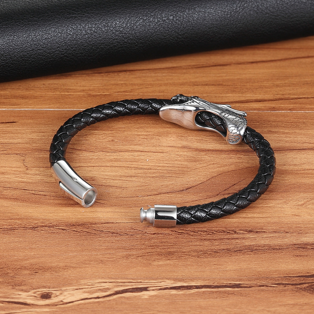 XQNI Men Jewelry 19/21CM Retro Chinese Symbol Dragon Pattern Genuine Leather Bracelet with Magnet Clasp for Birthday Party Gift