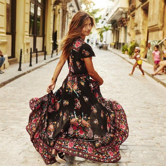 Summer Boho short sleeve Dress cotton Sexy floral Print Retro Vintage Tassel Beach Bohemain Hippie Dresses Robe Vstidos Mujer