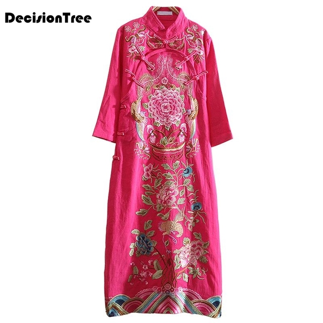 2019 new traditional chinese women cheongsam dress half sleeve embroidered qipao tunic elegant oriental long qipao dresses