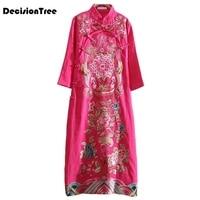 2019 new traditional chinese women cheongsam dress half sleeve embroidered qipao tunic elegant oriental long qipao dresses