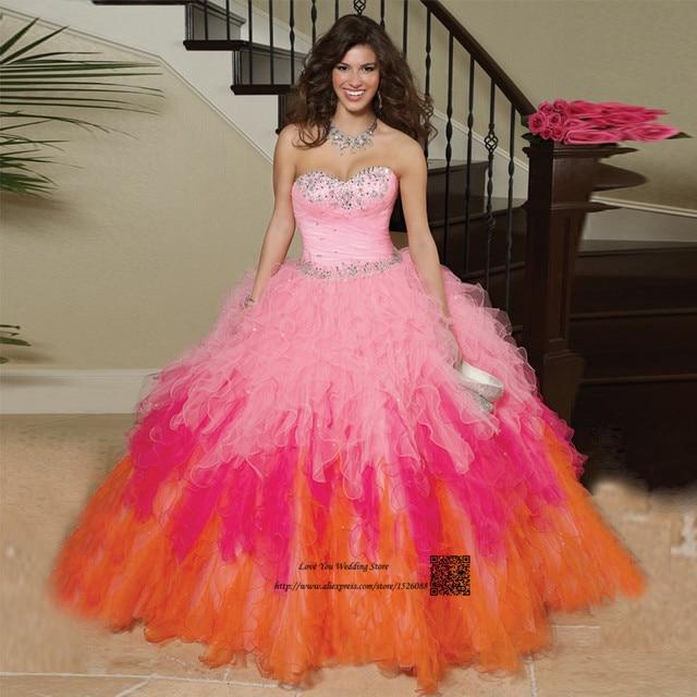 52352a31e Vestido Debutante 15 Anos Barato Dulce 16 Vestidos de 3 Colores del vestido  de Bola Vestidos