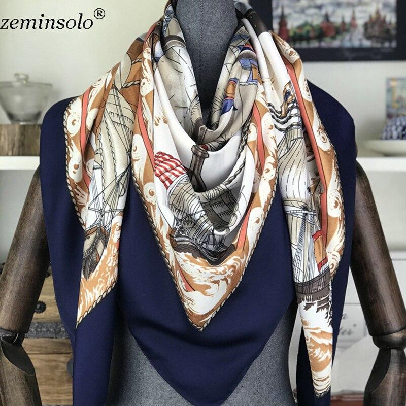 100% Silk   Scarf   Women Square   Scarves     Wraps   2019 Neckerchief Female Foulard Silk Hijab Bandana Lady Bufandas Shawls 130*130cm