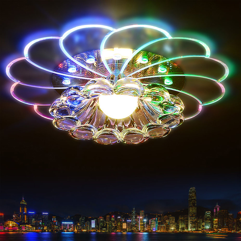 LumiParty Luxurious Crystal Chandelier LED Ceiling Lamp Colorful Light 5W Flush Mount For Hallway Bedroom Kitchen Decor