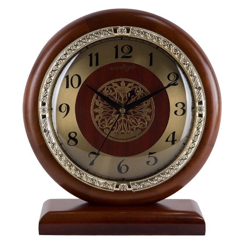 Horloge en bois massif horloge de bureau silencieuse simple style européen salon chambre horloge créative Overlord mouvement bureau décoration