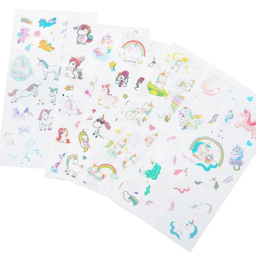 6sheets/pack Kawaii Decoration Stickers Cute Unicorn Cartoon Pvc Decorative Sticker Pack Diy Diary Notbook