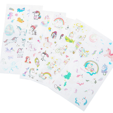 6sheets/pack Kawaii Decoration Stickers Cute Unicorn Cartoon Pvc Decorative Sticker Pack Diy Diary Notbook