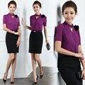 Бесплатная доставка мода summner женщины рабочая одежда пр с короткими рукавами 2 шт. комплект женщин косметолог фиолетовый костюм униформы
