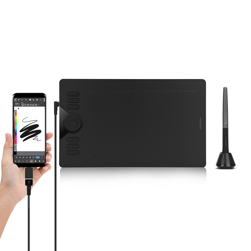 HUION HS610 tabletas gráficas lápiz Digital tableta teléfono tableta dibujo con Tilt OTG Stylus sin batería para Android Windows macOS
