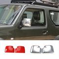 New & Hot ABS Chrome/Red Side Door Review Mirror Cover Trim Overlays 2PCS/Set For Suzuki Jimny