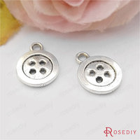 (31239)50PCS 12.5MM Antique Silver Plated Zinc Alloy Button Charms Pendants Diy Jewelry Findings Accessories wholesale