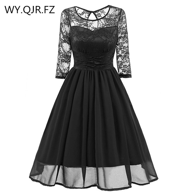 08a5d64faead CD1581H#Black Lace Chiffon Short Bridesmaid Dresses Wedding Party Dress Gown  Prom Sister Bride Toast Wholesale Cheap Clothing