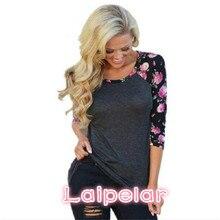 Vintage Floral Printed Women T Shirts Three Quarter Sleeve O-Neck Casual Basic T-Shirt Lady Tees T Shirt Women Tops Laipelar цена