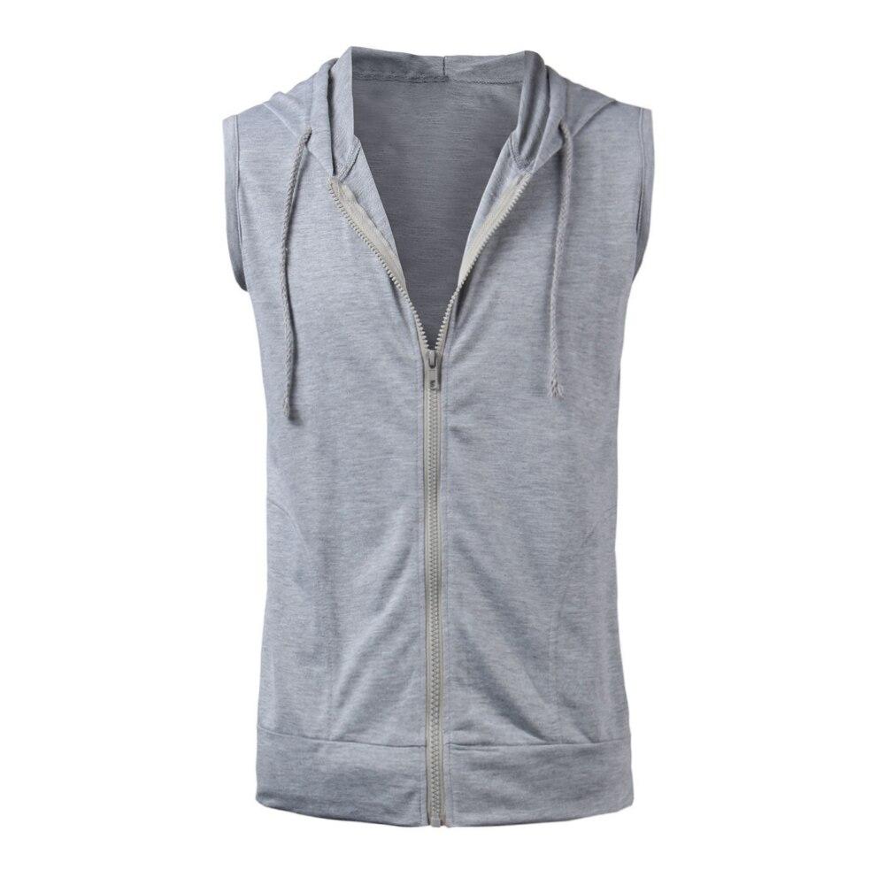 2018 Men Casual Slim Fit Basic Hooded Jacket Sleeveless Hoodie Vest Waistcoat Zipper Hoodies Sweatshirt Tracksuits Top Black