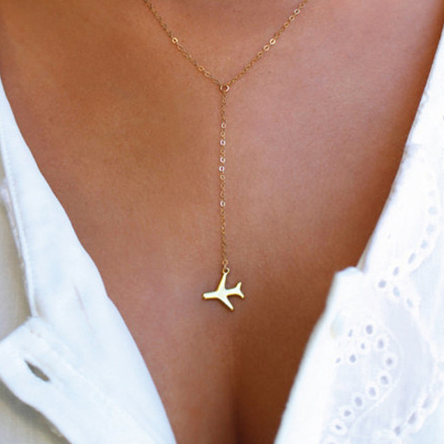 Hot sale golden silvery airplane pendant dainty layered women trendy hot sale golden silvery airplane pendant dainty layered women trendy pendant necklace fashion jewelry aloadofball Choice Image