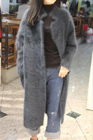 Custom Korea Plush Mink Cashmere Coat Thick Mink Knitted Sweater Long Paragraph Cardigan