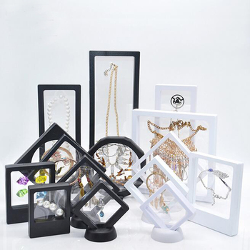New PET Membrane Jewelry Ring Necklace Display Holder Gift Packaging Box Protect Jewellery Stone Floating Presentation Organizer large leather gift box for jewellery wedding party decoration display velvet organizer earing necklace ring packaging pink box