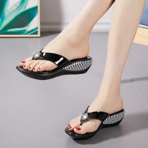 Image 4 - GKTINOO 2020 Summer Platform Flip Flops Fashion Beach Shoes Woman Anti slip Genuine Leather Sandals Women Slippers Shoe