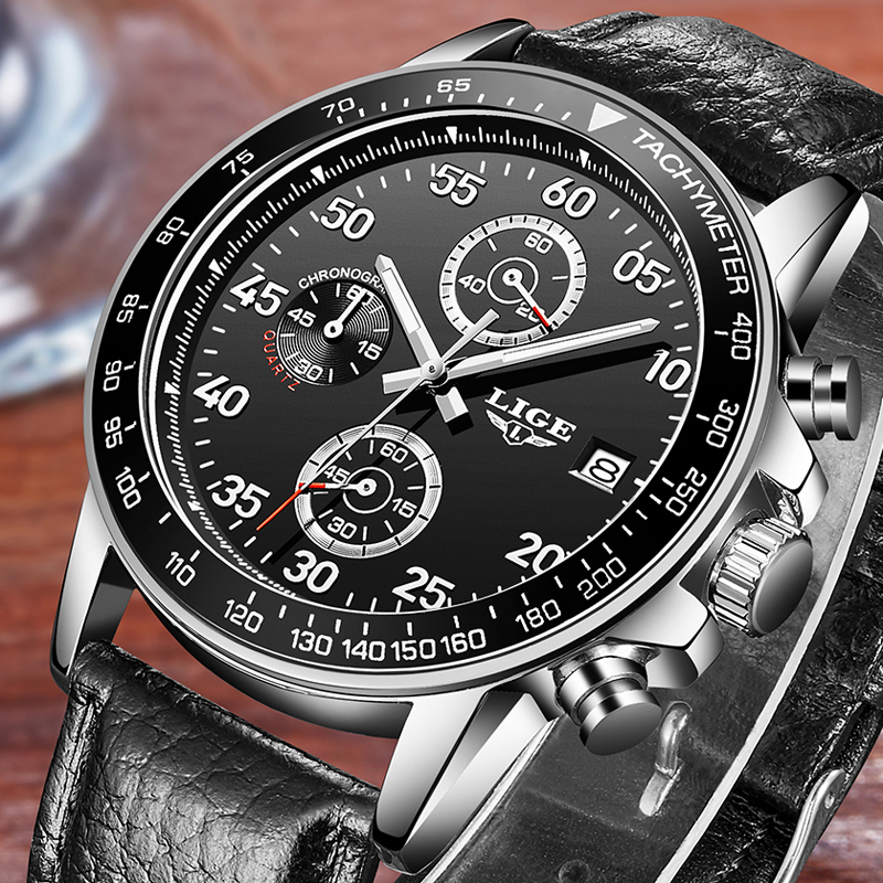 Relogio Masculino 2017 LIGE Luxury Brand Men Watches Military Sport Quartz Watch Male Waterproof Wrist Watch Man Leather Clock xinge top brand luxury leather strap military watches male sport clock business 2017 quartz men fashion wrist watches xg1080