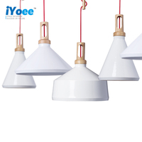 Home Dining Room PendantLamps Modern Colorful Restaurant Coffee BedroomPendant Lights Iron Real Wood Material AC110V 220V