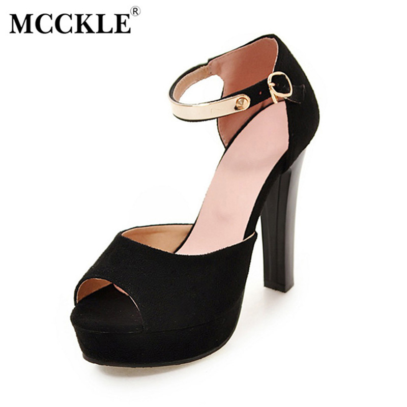 MCCKLE 2017 Fashion Women Shoes Woman Sandals Black Buckle Sequined Peep Toe Ankle Strap High Heels Comfortable Summer Platform mcckle new fashion women s summer comfortable shoes open toe black buckle female casuals flat platform sandals woman shoes