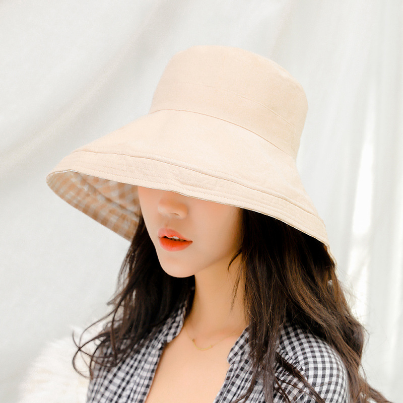 2019 spring and summer solid color bucket cap double sided wear loose lattice sunscreen fisherman hat sun hat UV protection cap in Women 39 s Sun Hats from Apparel Accessories