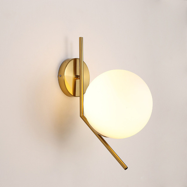 Nordic Post Modern Gl Ball Led Wall Lamp Iron Golden Mounted Light Sconce Home Fixtures For Living Room Bedroom Corridor