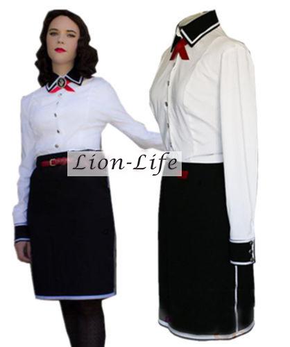 Mujeres libres del envío Bioshock Infinite Elizabeth Cosplay uniforme Top + falda por encargo