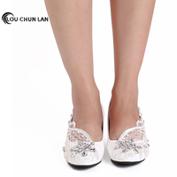 free shipping White Wedding Shoes office Shoes Bridesmaid/Bridal Shoes rhinestone lace Shoes High Heels Women Pumps size 41 44