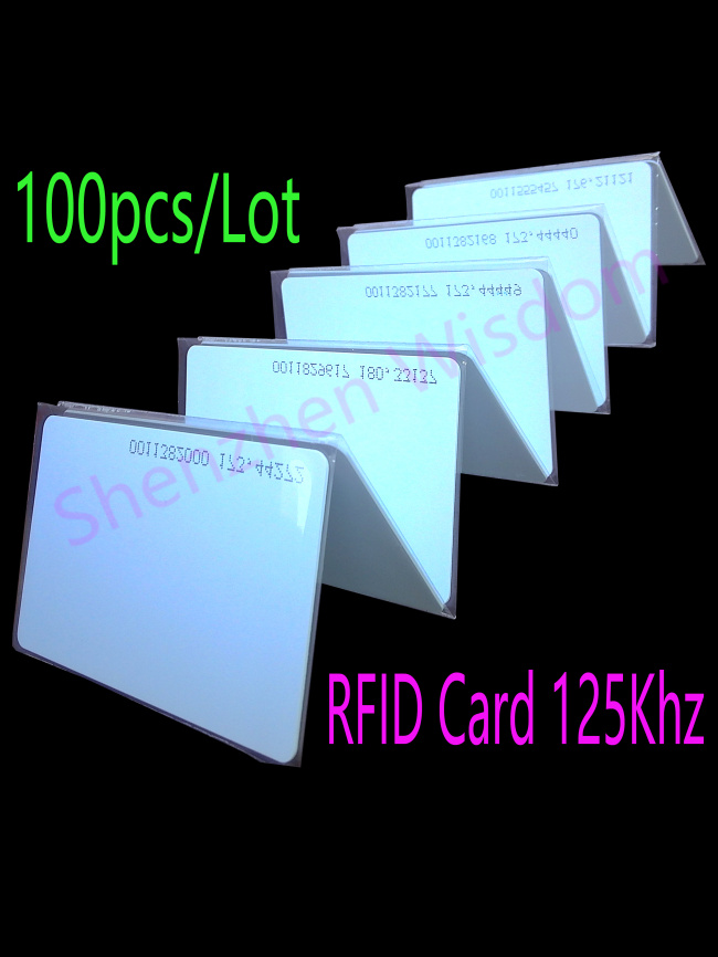 100pcs/Lot RFID 125Khz Card EM4100 TK4100 Smart Card ID PVC Card Fit For Access Control Time Attendance