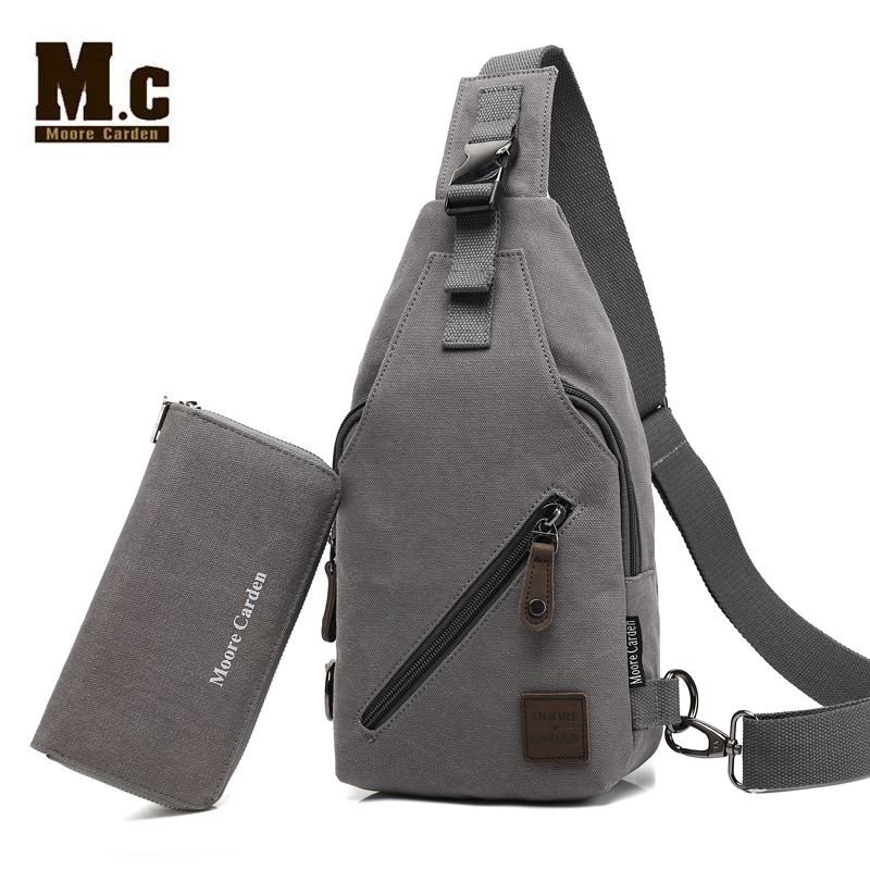 Retro Vintage Rucksack Canvas Men Backpack Male Students School Bags Man One Shoulder Chest Bags Triangle Strap Bagpack Bolsas