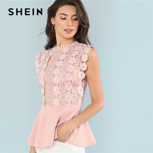 SHEIN Pink Solid Ruffle Elegant Office Workwear Casual Sleeveless Contrast Lace Womens Tops and Blouses Hem Shell Summer Top