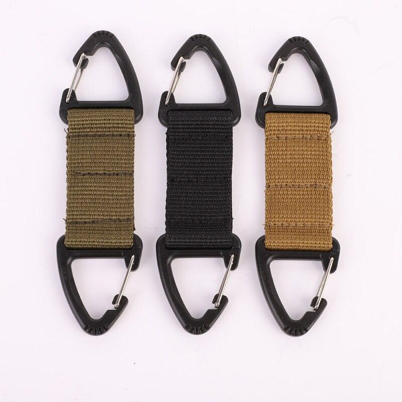 Tactical Backpack  Molle Webbing Belt Clip Climbing Carabiner Buckle Bag Webbing Belt Clip Clasp Hanging Chain Key Hook