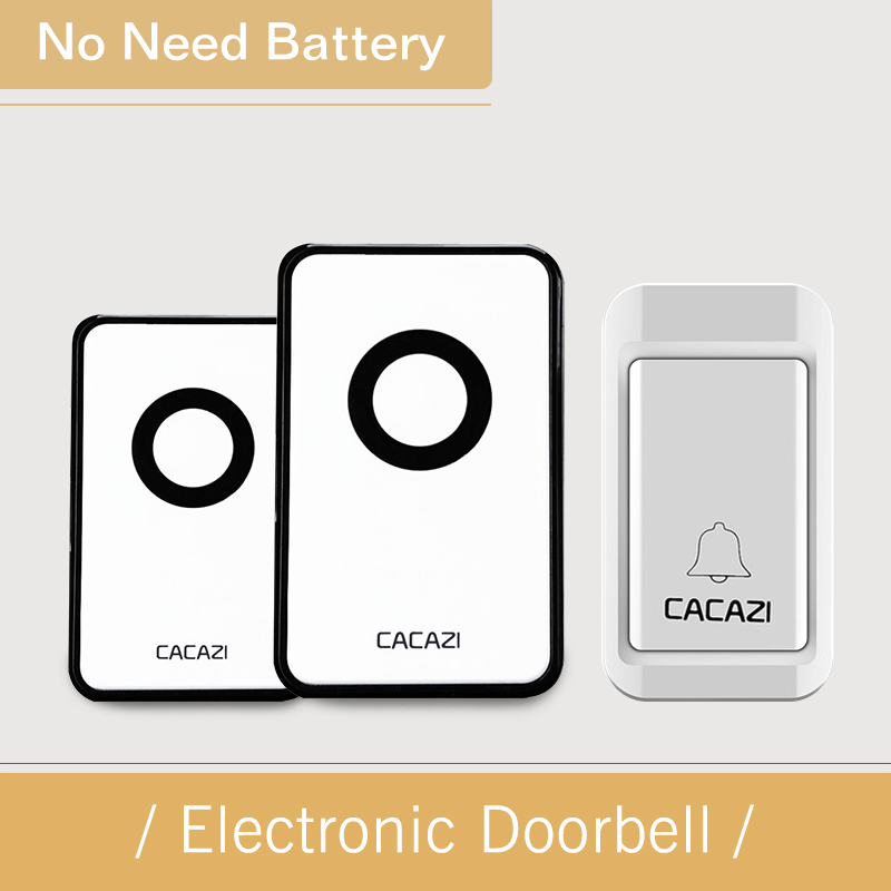 CACAZI  Hot Price-in Doorbell Wireless Door Bell Waterproof Digital Bell Ring 1 Button +2 Indoor Receiver With No Battery wireless home security door bell call button access control with 1pcs transmitter launcher 1pcs receiver waterproof f3310b