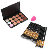 Professional 15 Color Concealer Palette Facial Face Cream Makeup Base Palettes 10pcs Brushes Puff Cosmetic Make