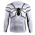 Homem Aranha branca Camisas Dos Homens Quick Dry Malha Ventile Superhero 3D Impressão t camisa Exercício Skintight Manga Longa Camisa Bicicleta