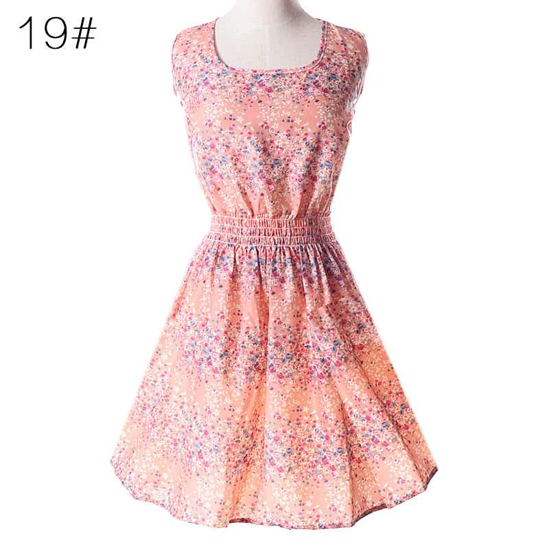 女性ドレス 2019 夏のスタイルビッグヤードノースリーブベストプリント花シフォンミニドレス vestidos 安い服 HJY1138
