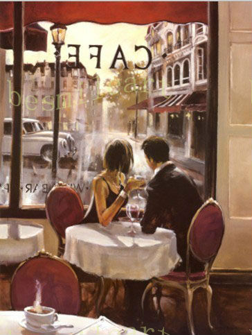 Finest museum quality cafe shop handmade oil artwork oil paintings on  HY41