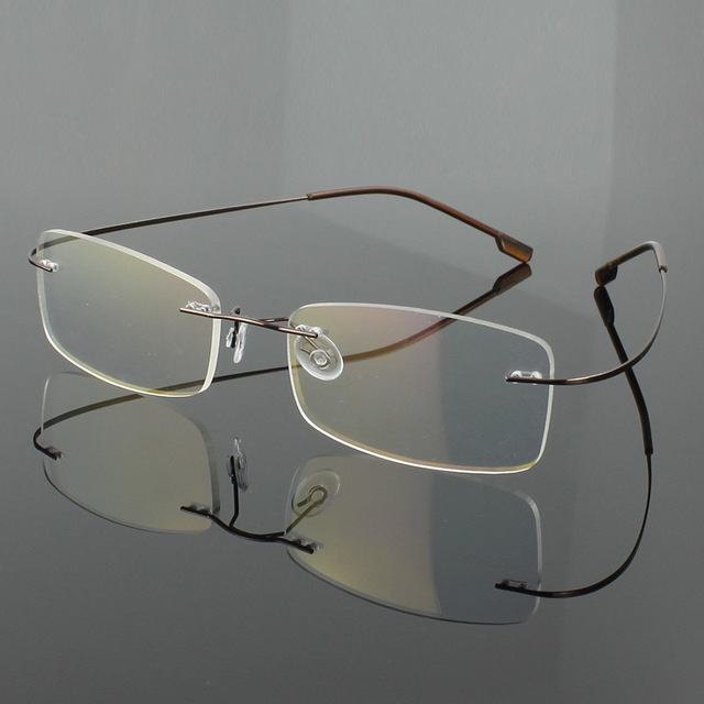 f9845ed641 TOptical 2017 Fashion Titanium Myopia Rimless Glasses Memory Square Eyeglasses  Optical Frame Eyewear Men Women Designer