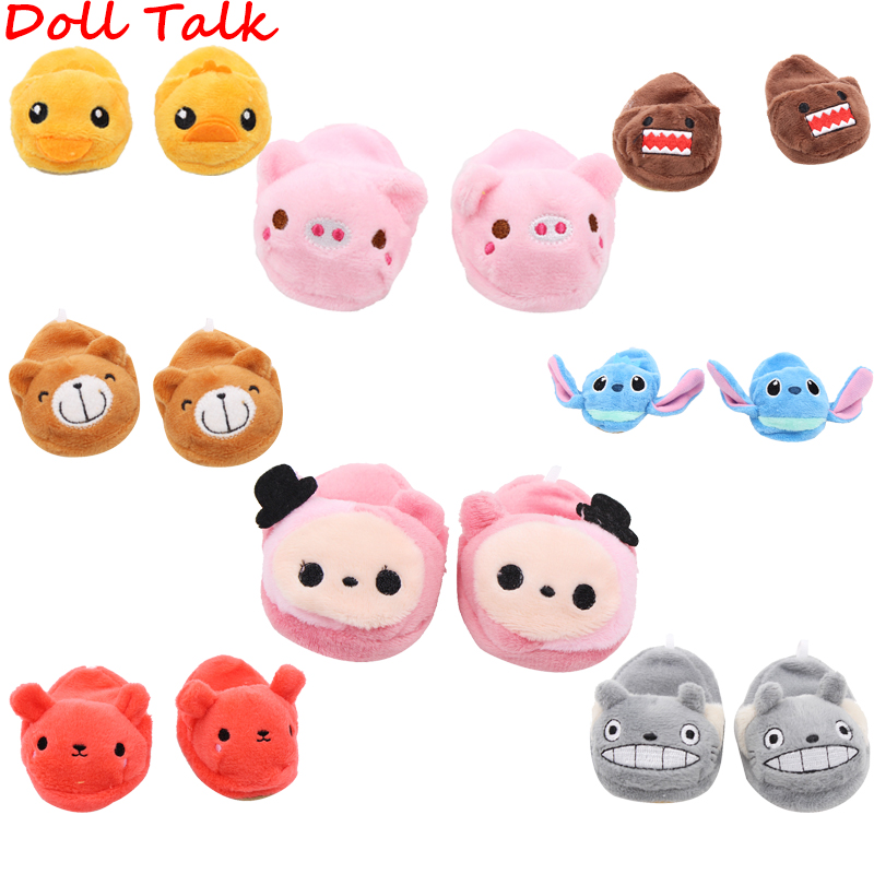 Doll Talk 2019 New Hiah Quality Plush Doll Slippers Cute Lovely Pig Cat Bear Cartoon Slippers Shoes For 18 Inch Doll Toy