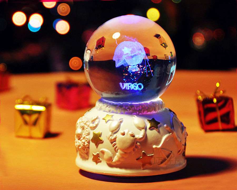 12 Constellation Rotating Crystal Ball Music Box LED Light Musical - Heminredning - Foto 5