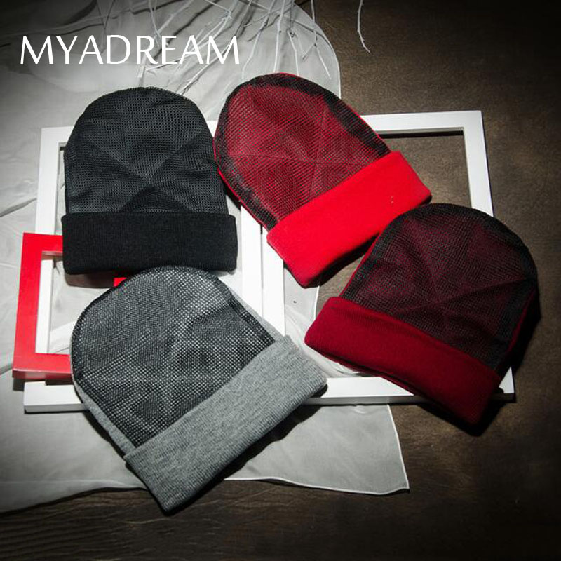 MYADREAM Novelty Hip Hop Beanie Winter Knitted Hats for Women Men with Hard Mesh Patchork Hat Skullies Dance Cool Cap Gorros unisex cotton hip hop hat with ring warm beanie cap in winter women knitted hats men and women skullies