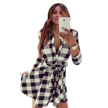 Women Check Tartan Plaid Mini Bandage Dress 3/4 Sleeve Jumper Shirt Dresses Tops 2017