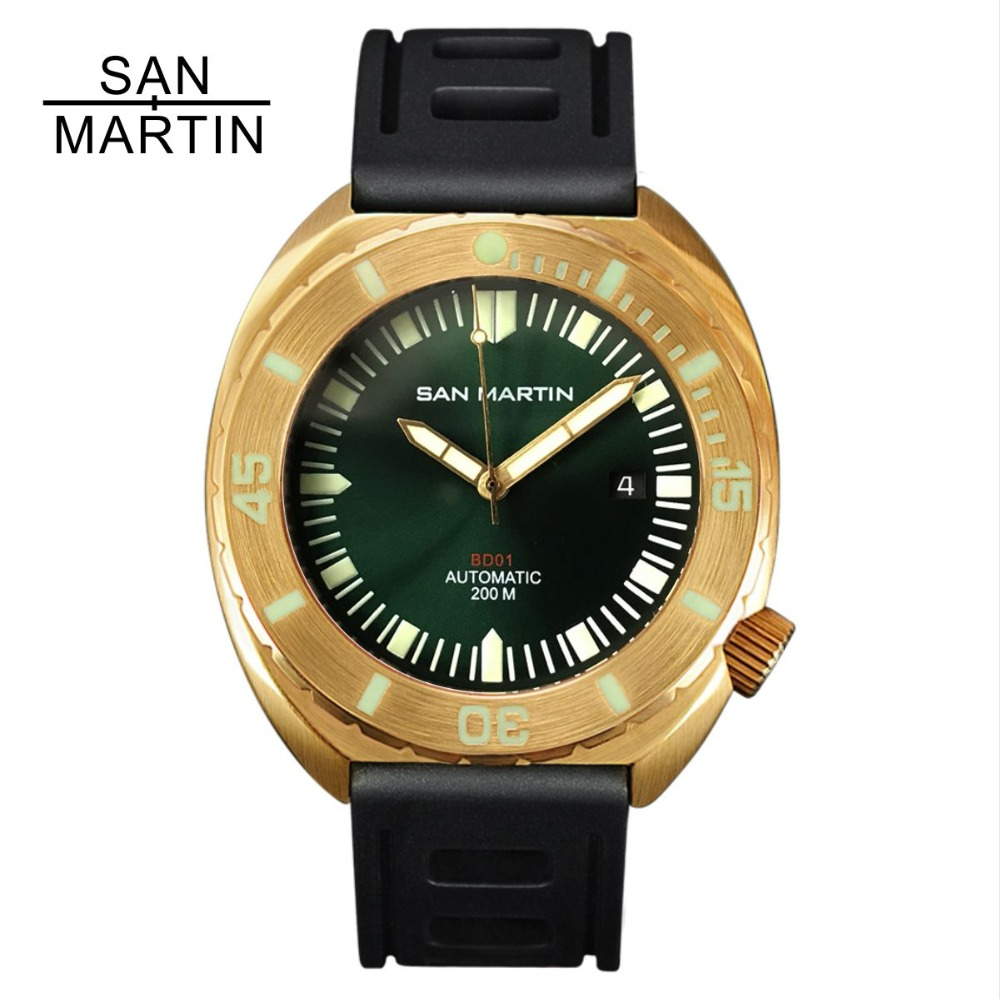 San Martin Men Bronze Automatic Watch Vintage Diving Wristwatch Sapphire glass 50ATM Full Luminous Bezel Relojes