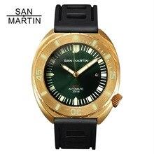 Сан Мартин для мужчин Бронзовый автоматические часы Винтаж наручные часы для ныряния сапфировое стекло 50ATM Полный световой ободок Relojes Hombre 2018