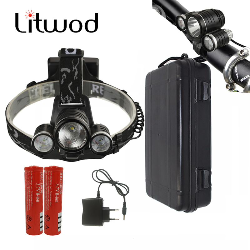 Litwod Z306633 phare LED Bick phare Cree XM-L T6 lampe Frontale vélo 2in1 chasse veilleuse chargeur de batterie boîte