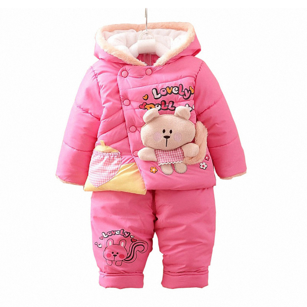 BibiCola Baby Girl Warm Clothes Set Toddler Christmas Snowsuit Parka Clothing Sets Infant Bebe Winter Coat Suit Hooded Thick Set winter baby girls clothing sets hooded velvet jacket pant suit children warm thick clothing set toddler kids snowsuit set